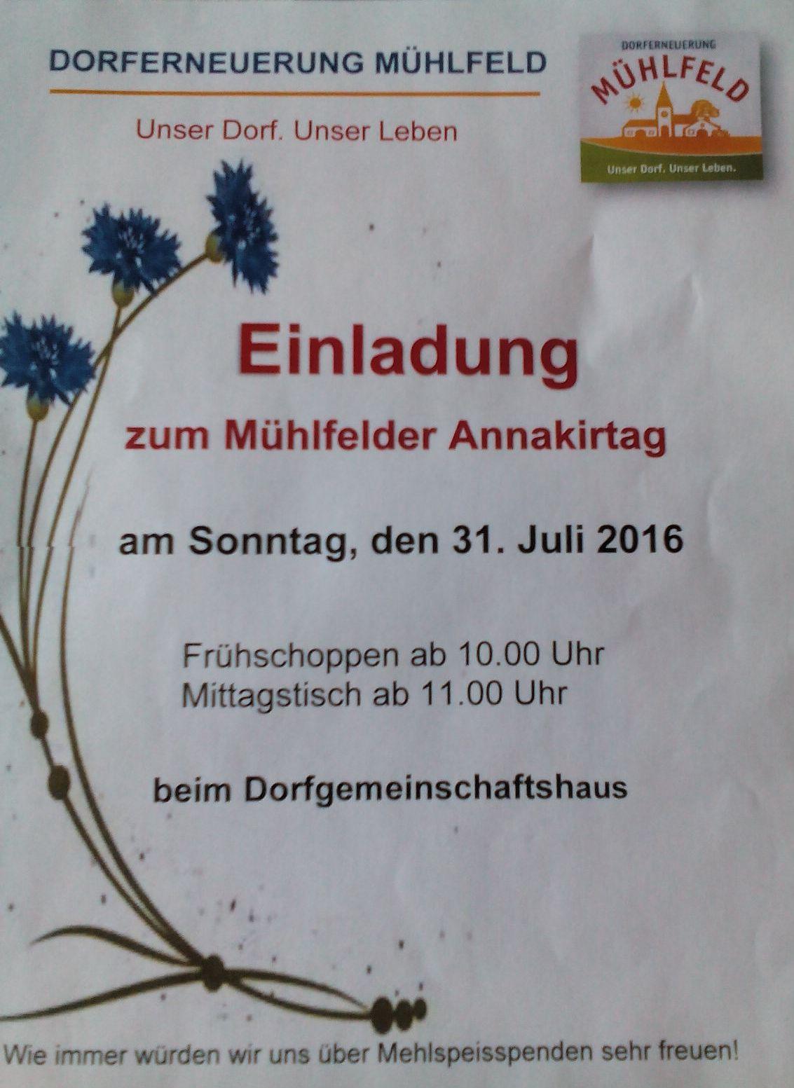 Mühlfelder Annakirtag 2016